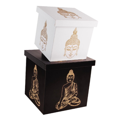 Set Of 2 Thai Buddha Decorative Wooden Storage Boxes - Home & Office Storage Solutions